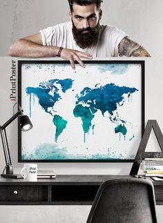 Arte del mapa del mundo mundo mapa imprimir poster de mapa