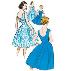 1960s Repro Vintage Sewing Pattern: Low Back Dress. Butterick 5748