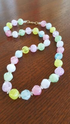 Vintage 1950s Marbelized Glass Beaded Necklace ~ Vintage Pastel Beaded Necklace by In2vintagejewelry2 on Etsy