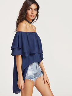 Shop Royal Blue Ruffle Off The Shoulder Top online. SheIn offers Royal Blue Ruffle Off The Shoulder Top & more to fit your fashionable needs.