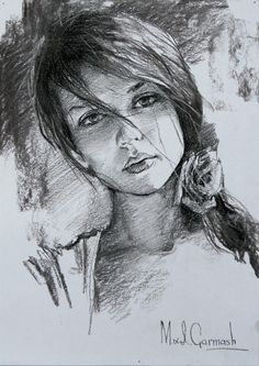 Pencil study for painting (see below) Portrait Au Crayon, Pencil Portrait, Portrait Art, Face Sketch, Drawing Sketches, Prison Drawings, Pencil Drawings Of Girls, Charcoal Art, Illustration Art