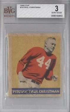 Paul Christman BVG GRADED 3 Chicago Cardinals (Football Card) 1949 Leaf #19 by Leaf. $19.00. 1949 Leaf #19 - Paul Christman BVG GRADED 3