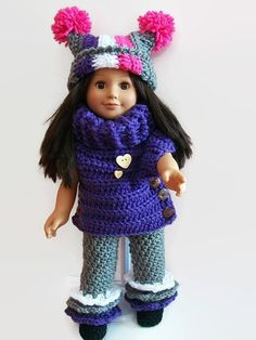 doll winter outfit pattern  crochet doll by KaysFashionBabyDolls