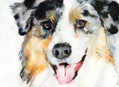 Australian shepherd, dog painting, Dog portrait, Aussie dog, Ozzy Dog owner, Oz shepherd mom, Dog print, Australian… #dogs #pets #puppy