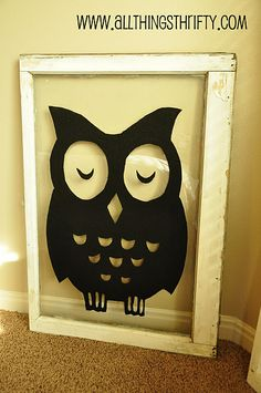 Paint a silhouette or design on an old pane window or picture frame