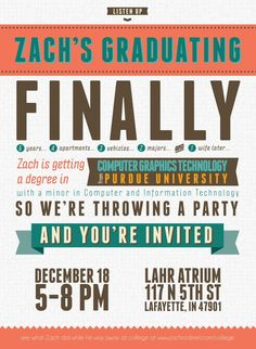 Free Modern Typography High School or College Graduation Invitation Indesign Template