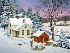 North-country Christmas by john Sloane Christmas Scenes, Christmas Art, Vintage Christmas, Winter Christmas, Snow Scenes, Winter Scenes, Winter Pictures, Christmas Pictures, Natal Country