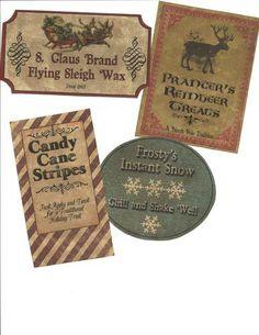 LOT OF~12 Vintage look LABELS~Grungy labels ~Christmas Santa's Labels.   eBay