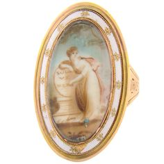 Georgian 18K Rose Gold Ivory Miniature Ring 1788