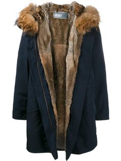 Army Yves Salomon Navy Brown fur lined parka Cappotto Parka ff4c83400b2