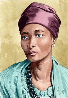 Portrait of Eleanor Xiniwe, watercolor 20 x 28 cm.