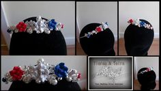 Commissioned bespoke red white and blue wedding tiara to match the bride union jack colour theme
