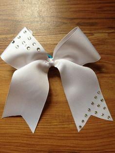 White rhinestone cheer hair bow by BradshawBowTique on Etsy, $12.00