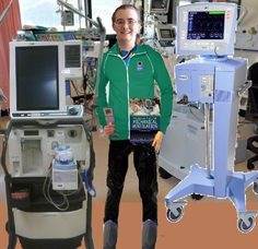 A self portrait I created.  I photo-shopped myself into a typical hospital ICU scene as well as my 2 all time favorite Ventilators: Avea (right) & Puritan Bennett 840 (left).  I don't own the outfit I am shown wearing in the picture, so I added it myself when I put together the scene. My biggest dream is to work in a hospital with Ventilators so I can hang out with them in the ICU all my heart desires & make friends with the Respiratory Therapists who work with the Ventilators.