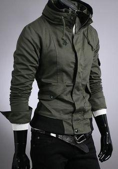 Fashion Long Sleeve Pockets Embellished Coat Green