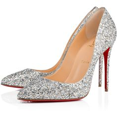 PIGALLE FOLLIES ALIGLITTER 100 Silver Glitter - Women Shoes -... ($710) ❤ liked on Polyvore featuring shoes, louboutin and heels