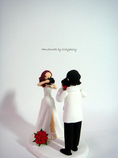 Lovely photographer couple customized cake topper