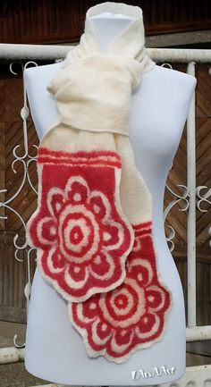 Excited to share the latest addition to my #etsy shop: #SALE - #Felted Scarf - #Bulgarian #ethnic motifs interpretation - RED #ROSES -  #felt #shawl - natural creamy white ivory #merino #wool #accessories #scarf #white #red #birthday #ecohypoallergenic #veganvegefriendly