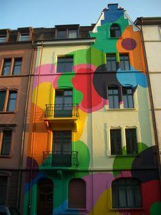 Basel, Switzerland - that would brighten a walk down the street!