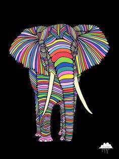 © Mulga 2012, Eden the Enigmatic Elephant, Posca on Paper, 30 x 40cm  Shop/Website /Facebook/Tumblr / Instagram