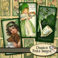 Vintage St Patrick's Day Images 1x2 Inch by PassionFruitsImages, $3.75