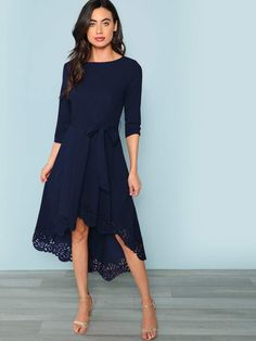 Beautiful Laser Cut Dip Hem Dress with Belt Navy blue, great for any occasions. Fit N Flare Dress, Fit And Flare, Foto Pose, Green Fashion, Latest Dress, Mode Outfits, Belted Dress, Types Of Sleeves, Fashion Dresses