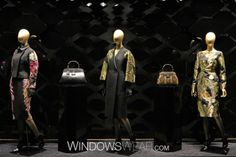 Shop the GUCCI, New York, 5th Avenue window on WindowsWear.  Gucci embraces the winter season with a moody window imbued with an oriental aesthic that places the ready to wear looks center stage. With each piece showcasing botantical detailing in a jacquard fern motif, the looks are feminine with a 1940s feel.