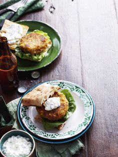 Kumara and chickpea burgers — Food to Love Burger Recipes, Raw Food Recipes, Vegetarian Recipes, Healthy Recipes, Healthy Food, Ciabatta, Kumara Recipes, Chickpea Burger, Feel Good Food
