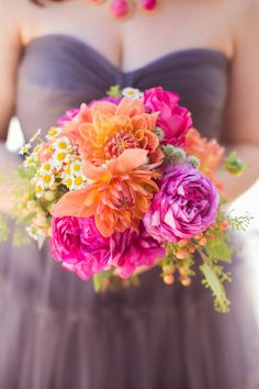 Bright and fun bridesmaid bouquet: http://www.stylemepretty.com/california-weddings/santa-barbara/2014/11/10/colorful-santa-barbara-wedding-2/ | Photography: Jessica Fairchild - http://jessicafairchild.com/
