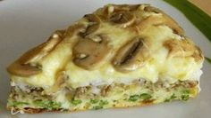 Быстрый пирог-перевертыш с грибами и рисом