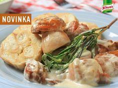 Nudličky z kuřecího masa se žampionovou omáčkou a houskovým knedlíkem Chicken, Meat, Beef, Cubs