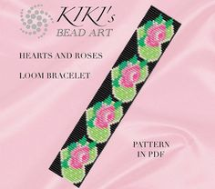 Bead loom pattern - Hearts and roses - flowery vivid coloured LOOM bracelet in PDF instant download