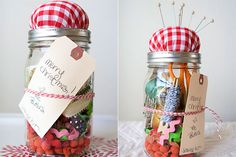 Ashlee Baker (Tweet Baby Designs). Ashlee submitted an adorable sewing kit in a canning jar. I loved this idea for a gift. I think it would be great for just about any generation of girls.