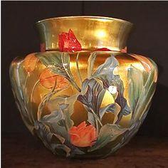 Scott Potter, Ginger Vase with Tulips, motif on gold gilding base