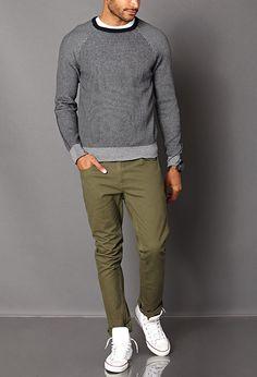 Striped Raglan Sweater | Guys Winter Style
