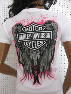 M nwt HARLEY DAVIDSON **Hot Pink Splatter Wing Back ** T- Shirt Top ** DEFECT**
