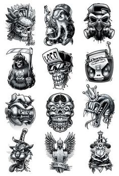 Black and Grey Hardcore Street Ink Street art inspired black and grey temporary tattoos. These tattoos look great on all skin tones and have a classic tattoo look that color tattoos just can not repli