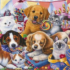 Sweet Ones (Puppies and Kittens) by Jenny Newland Canvas Print #9062  Sweet Ones (Puppies and Kittens) by Jenny Newland Canvas Print #9062 by:  Decorative Canvas Art