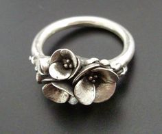 Bouquet of Poppies - Handsculpted, Cast Sterling Silver Ring