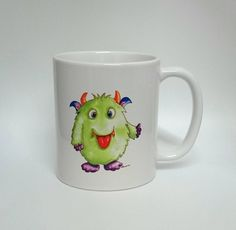 Monster Mug - Handmade Art, Watercolour Artist Mug. Monster. Personalised Mug. Green. Scary. Child's Mug. by SueRocheIllustration on Etsy https://www.etsy.com/listing/253555591/monster-mug-handmade-art-watercolour
