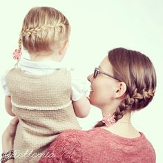 """""""Mother/daughter braids: diagonal French braids accessorised with some flower clips I've made """" Photo taken by @flettemia on Instagram, pinned via the InstaPin iOS App! http://www.instapinapp.com (04/15/2015)"""