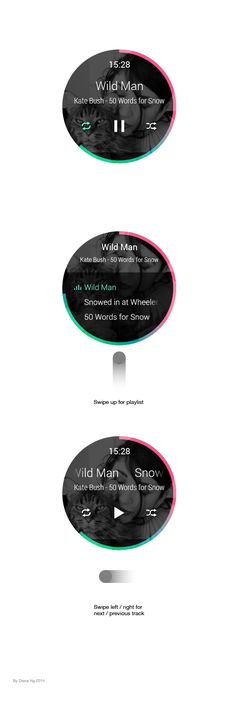 Android Wear Music application concept design on Behance