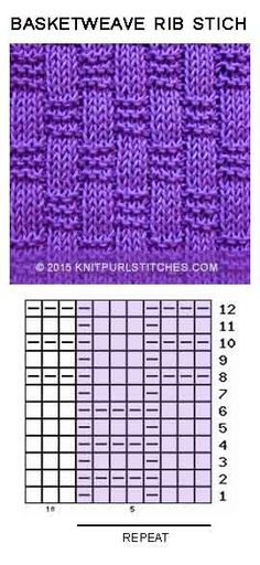 Basket-weave Rib stitch. Just Knit and Purl