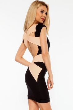 Cross Bandage Back Little Black Bodycon Dress