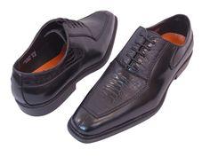 Men's Dress Shoes ANTONIO CERRELLI 6434 Black Oxfords Lace up Ostrich Leg Print