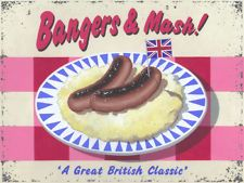 Bangers and Mash Metal Sign, Great British Classic Pup and Bar Food, Cafe Decor