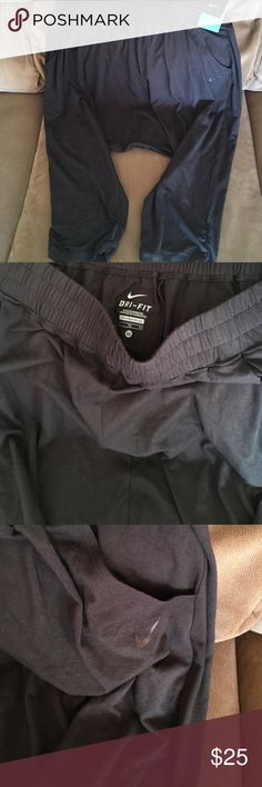 NWT Nike Dri Fit Harem Capris Size XL Excellent condition. No flaws. NWT. Loose fitting harem pants the bottoms are ruched , and are a little tighter fitting towards the bottom. Black in color with pockets . There is a drawstring at the waist. Lowest offer is the price listed. No trades or Mercari. Price firm unless bundled Nike Pants Track Pants & Joggers