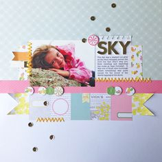 A layout made with Pink Paislee's Citrus Bliss Collection.