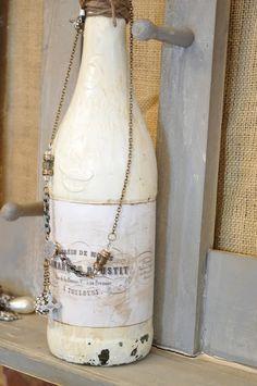 chalk painted bottle!  Grab those wine bottles!