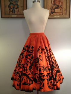Vibrant Orange 1950s Hand Painted Mexican Circle Skirt. $95.00, via Etsy.